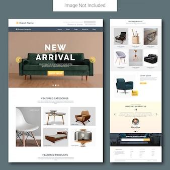 Plantilla de página de destino de venta de muebles