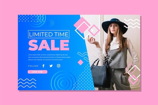Plantilla de página de destino de ventas abstracta con foto