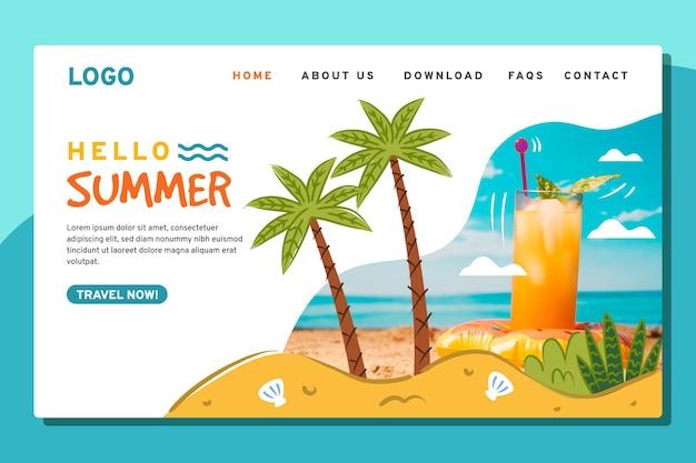 Plantilla de página de destino de verano dibujada a mano con foto