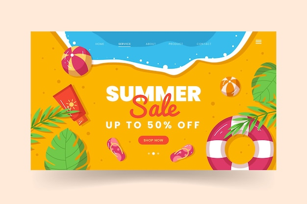 Plantilla de página de destino de verano plano orgánico