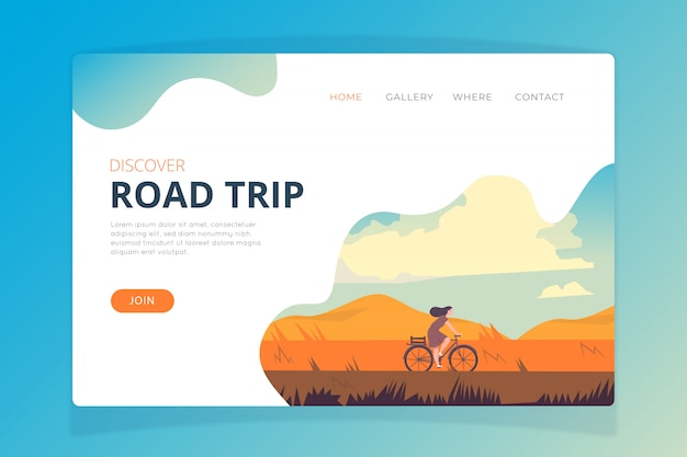 Plantilla de página de destino de viaje por carretera