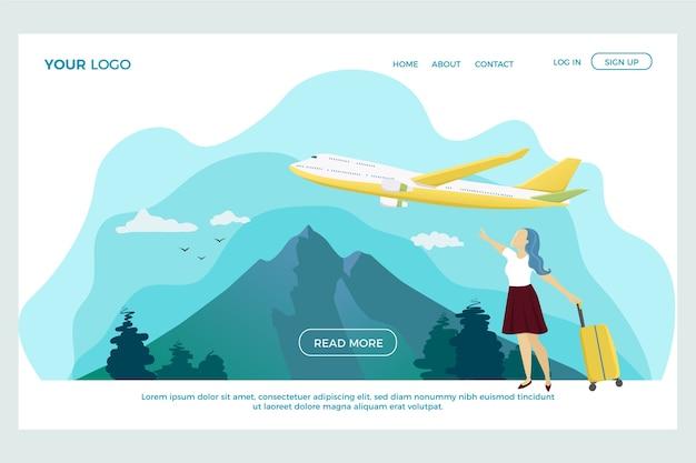 Plantilla de página de destino de viaje de diseño plano
