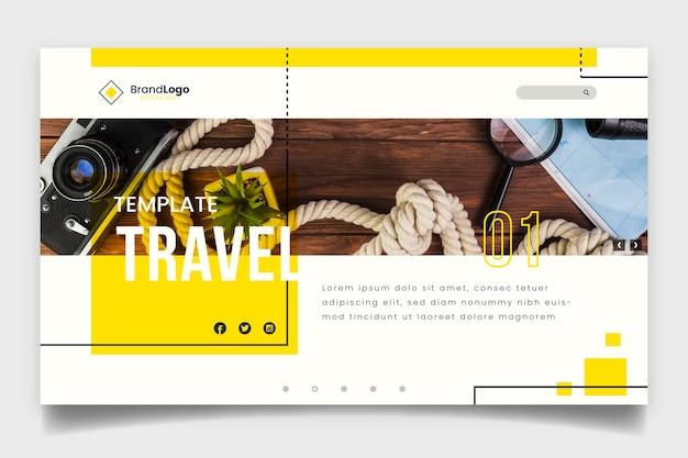 Plantilla de página de destino de viaje con foto