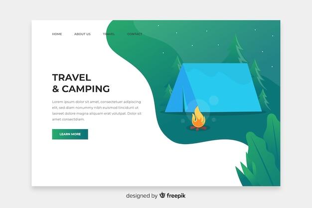 Plantilla de página de destino para viajes y campamentos