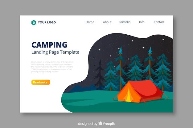 Plantilla de página de destino para viajes de camping