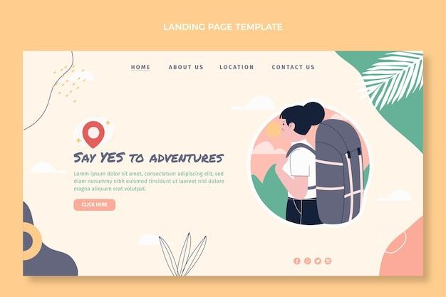 Plantilla de página de destino de viajes de diseño plano