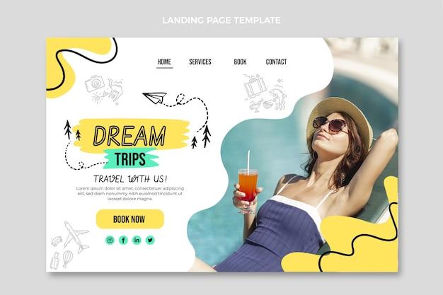 Plantilla de página de destino de viajes planos