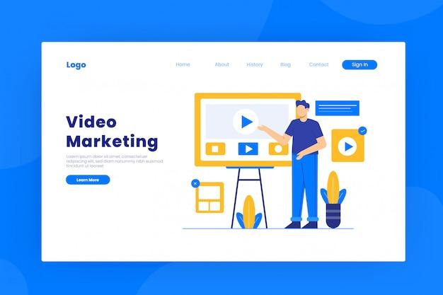 Plantilla de página de destino de video marketing