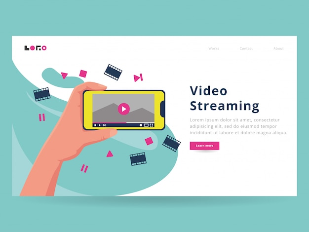 Plantilla de página de destino de video streaming