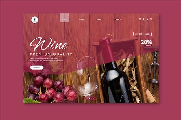 Plantilla de página de destino de vino