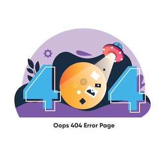 Plantilla de página de error 404 para el sitio web. paisaje del espacio exterior con ovni robando una computadora portátil con un rayo de luz. computadora levitando. planetas y estrellas en el espacio. mensaje de advertencia de texto 404 página no encontrada