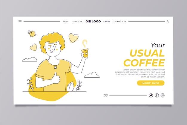 Plantilla de página de inicio amarilla moderna