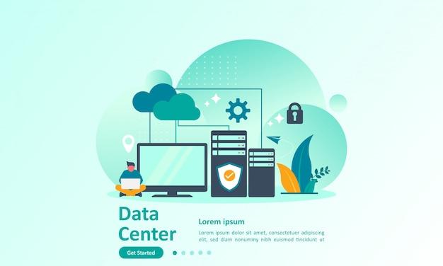 Plantilla de página de inicio de big data con base de datos en la nube.