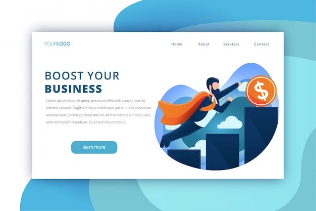 Plantilla de página de inicio de booster de negocios