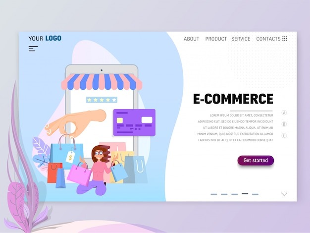 Plantilla de página de inicio de comercio electrónico para el sitio web o la página de destino. diseño plano
