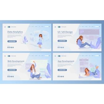 Plantilla de página de inicio de conjunto de aplicaciones web móviles ui ux diseño moderno