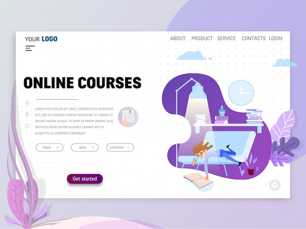 Plantilla de página de inicio de cursos en línea para sitio web o página de destino.