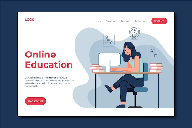 Plantilla de página de inicio de educación en línea plana lineal