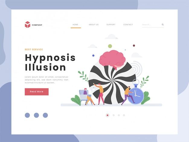Plantilla de página de inicio de ilusión de hipnosis
