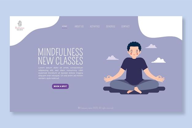 Plantilla de página de inicio de meditación y atención plena
