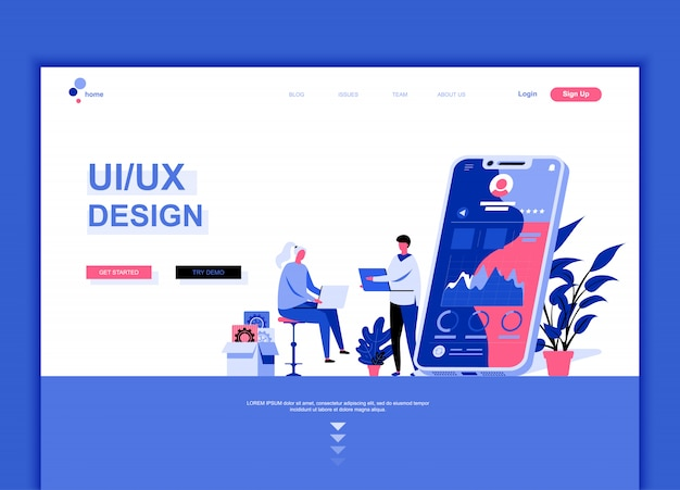 Plantilla de página de inicio plana de ux, diseño de interfaz de usuario