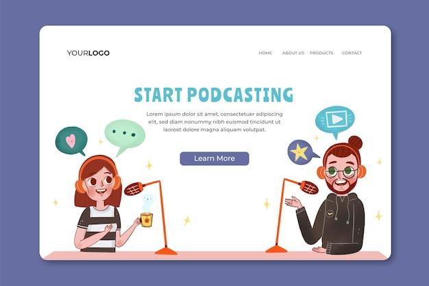 Plantilla de página de inicio de podcast ilustrada