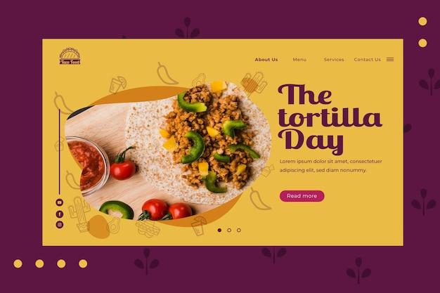Plantilla de página de inicio de restaurante de comida de tacos