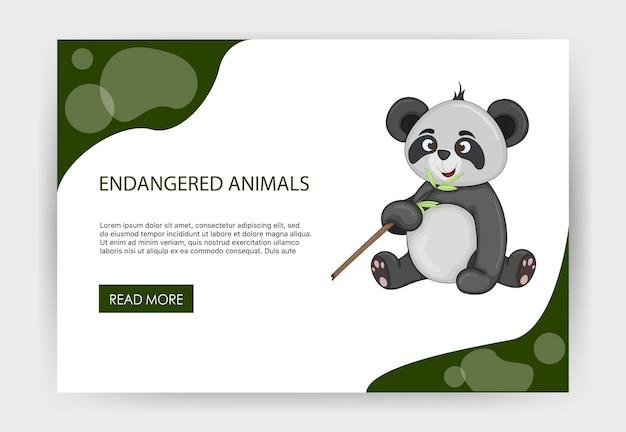 Plantilla de página de inicio de san valentín con animales en peligro de extinción. estilo de dibujos animados. ilustración vectorial.