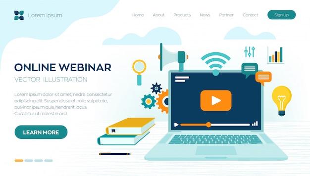 Plantilla de página de inicio de seminario web en línea