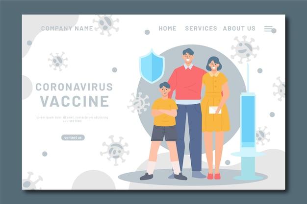 Plantilla de página de inicio de vacuna contra el coronavirus dibujada a mano plana