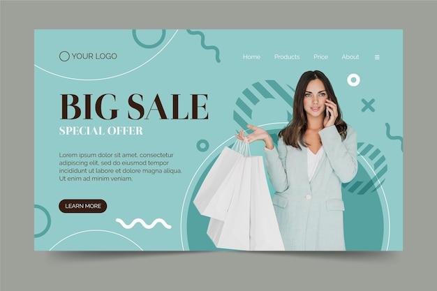 Plantilla de página de inicio de venta de moda con foto de mujer