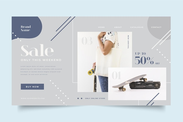 Plantilla de página de inicio de venta de moda con foto