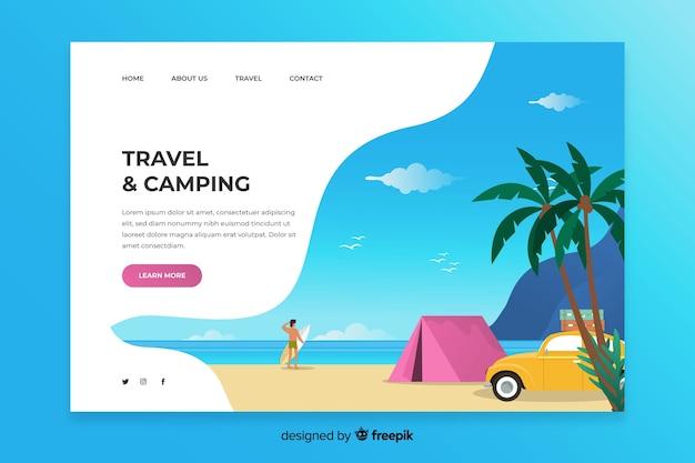 Plantilla de página de inicio de viaje y camping
