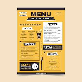 Plantilla de página de menú amarillo minimalista