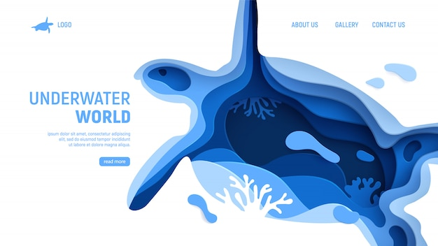 Plantilla de página del mundo submarino. concepto de mundo submarino de arte de papel con silueta de tortuga. papel cortado mar con tortuga, olas y arrecifes de coral. ilustración de vector de artesanía