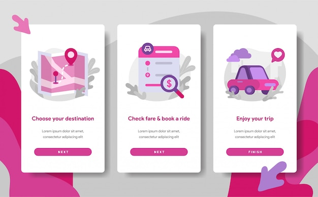 Plantilla de página de pantalla de incorporación de la aplicación de transporte en línea