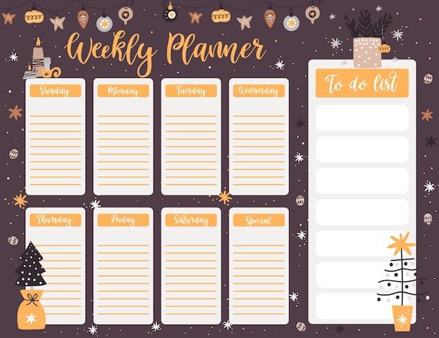 Plantilla de página de planificador semanal de navidad, lista de tareas con elementos de año nuevo en estilo de dibujos animados