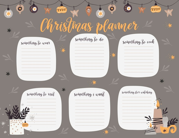 Plantilla de página de planificador semanal de navidad,
