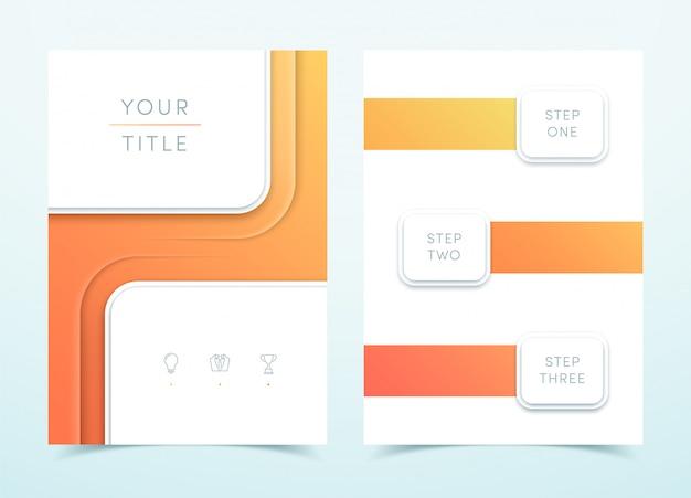 Plantilla de página de retrato 3d vector cuadrado naranja