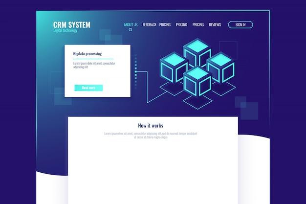 Plantilla de página de sitio web, elemento abstracto de tecnología digital, sala de servidores
