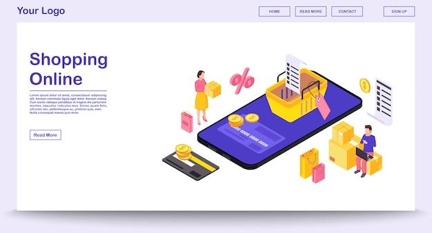 Plantilla de página web de aplicación de compras móviles en línea con ilustración isométrica
