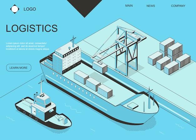 Plantilla de página web de aterrizaje de tarjeta de concepto de logística de puerto marítimo