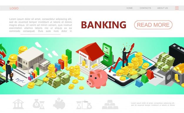 Plantilla de página web de banca isométrica con empresario pago móvil cajero automático dinero barras de oro monedas en tarjetas de crédito seguro hucha