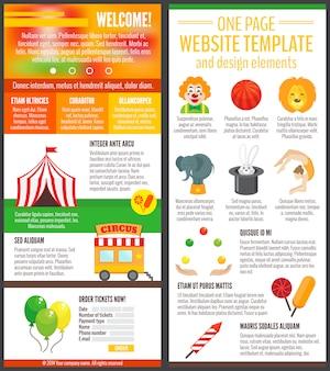 Plantilla de una página web de circo y elementos de diseño.