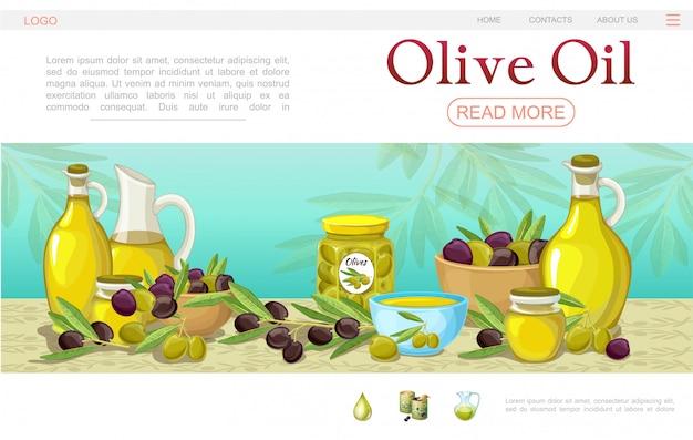 Plantilla de página web de dibujos animados de aceite de oliva con ollas cuencos botellas de ramas de olivo verde y negro y frasco de aceite orgánico