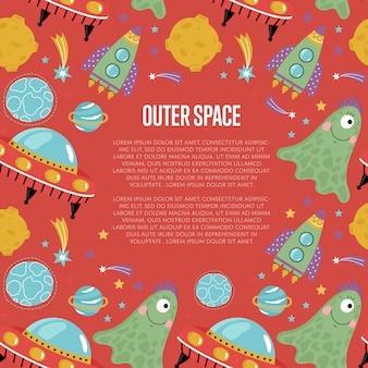 Plantilla de página web de dibujos animados del espacio exterior
