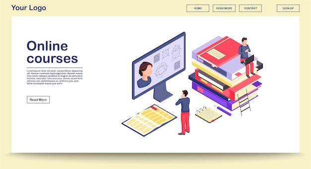 Plantilla de página web de educación en línea con ilustración isométrica