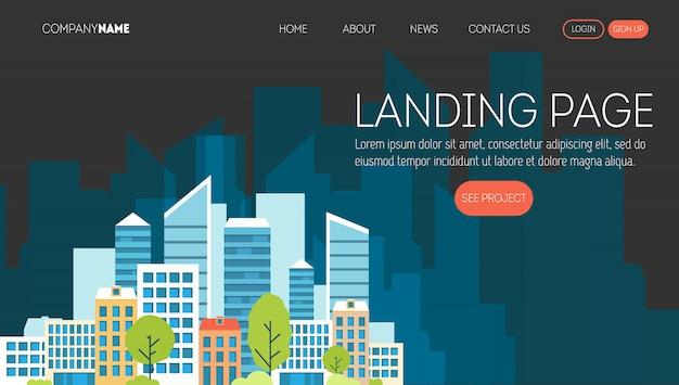 Plantilla de página web de la empresa constructora. página de inicio de un sitio web sobre negocios inmobiliarios