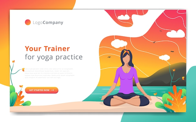 Plantilla de página web de entrenador de yoga hacer ejercicio en la plantilla de sitio web de naturaleza abierta