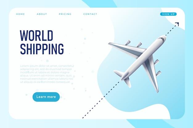 Plantilla de página web de envío mundial con avión realista